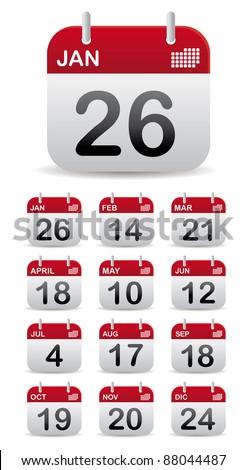 set 12 calendar stand up - stock vector