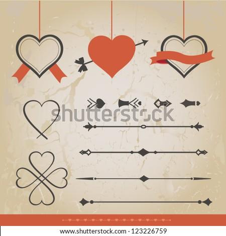 Set Calligraphic Design Elements. Set of Valentine  vector ornaments and decorative element. - stock vector
