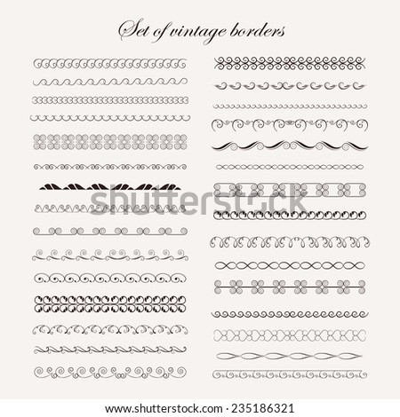 Set  calligraphic vintage elements for your design - stock vector