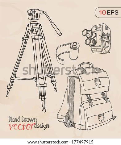 set camera and accessories - stock vector
