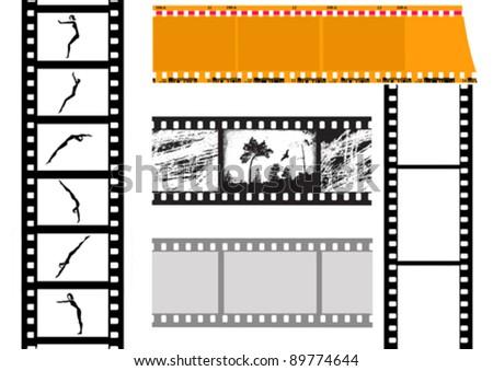 set camera film, vector illustration - stock vector