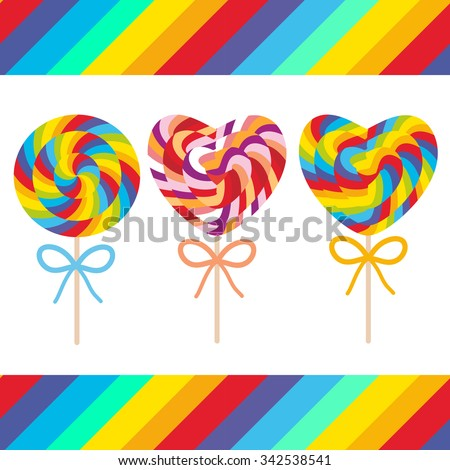 Set candy lollipops with bow, colorful spiral candy cane. Candy on stick with twisted design on white background with bright rainbow stripes. Vector - stock vector