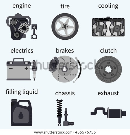 Set car parts. Automobile systems. car repairs.  Engine, wheel, piston, brake, battery, cooling, absorber, exhaust, radiator, suspension, candle, clutch. Vector illustration flat design. - stock vector