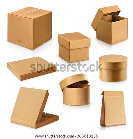 Set cardboard boxes, vector - stock vector