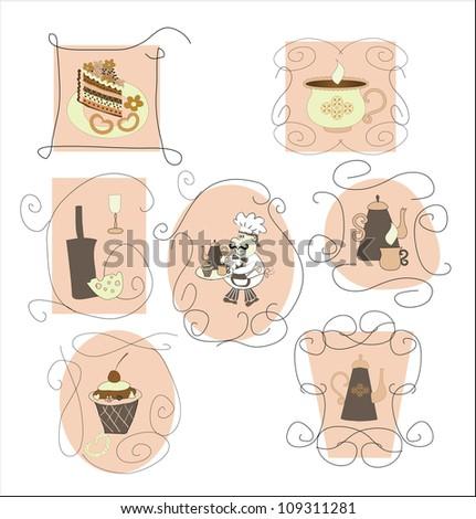set cards,labels for cafes, restaurants - stock vector
