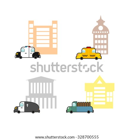 Set cars and buildings. Police and Police Station. Taxi and train station. Hearse and crematoriums. Public buildings and utility vehicles - stock vector