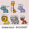 Set cartoon animals - stock vector