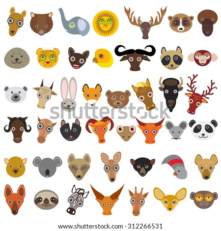 set Cartoon Animals from all over the world,  muzzle animal, avatar isolated on white background. Vector - stock vector