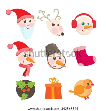 Set cartoon celebratory icons. Christmas and New Year icons with funny characters - a deer, snowman, santa, sock and so on on a white background. Vector illustration - stock vector