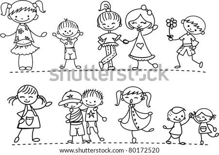 Set cartoon characters children - stock vector