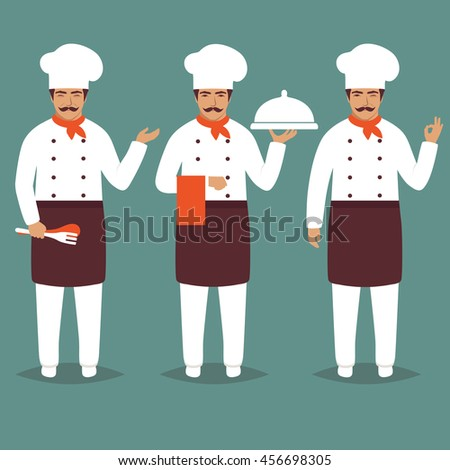 Set Cartoon Chief Cook Character. white restaurant profession uniform. Modern Flat Design Vector Illustration - stock vector
