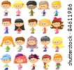 set cartoon children, pupils - stock photo