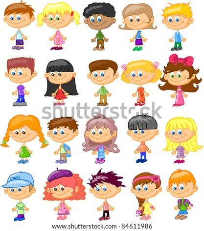 set cartoon children, pupils - stock vector