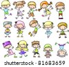 set cartoon childrenset cartoon children - stock vector