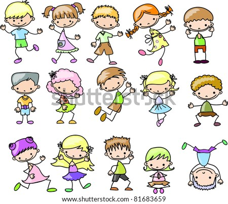 set cartoon childrenset cartoon children - stock vector