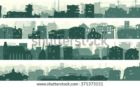 Set cartoon horizontal banner of big city with roofs and windows of buildings in downtown.