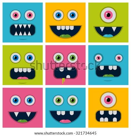 set cartoon monster faces  - stock vector