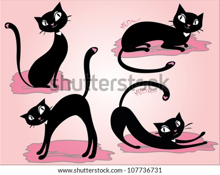 set cat vector - stock vector