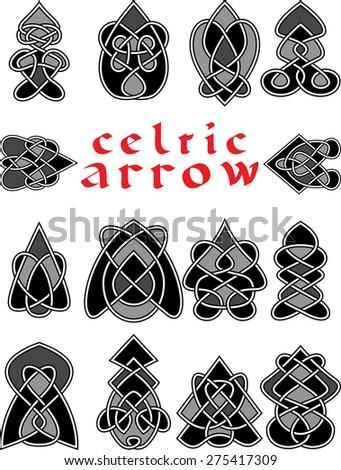 Set celtic arrows for design in a vector - stock vector