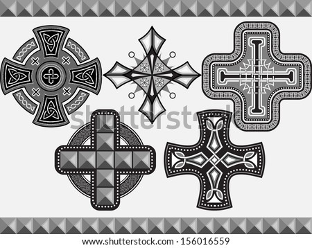 Set celtic crosses with an ornament in a vector - stock vector