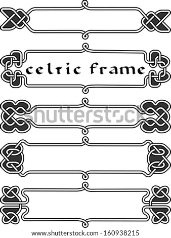 Set Celtic frame an element of design in the Irish style - vector - stock vector