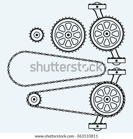 Set chain gears. Isolated on blue background. Vector silhouettes - stock vector