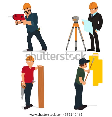 Set character builder and repairman. Construction set. Work for builder or foreman. Tools for construction and repair. Vector.man drills a hole with a drill. builder with a drill. builder drill wall. - stock vector