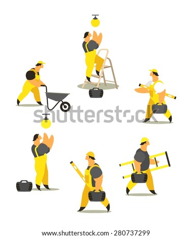 set characters of men dressed in working clothes in different poses on a white background - stock vector