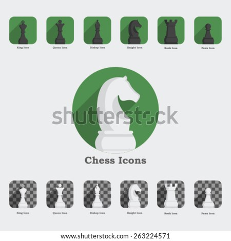 Set chess  icons - stock vector