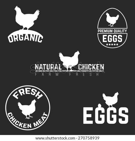 Set chicken and eggs farm logo emblem. Natural and fresh farm. Vector illustration - stock vector