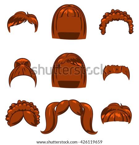 set children's cartoon hairstyles. Dark blond hair. - stock vector