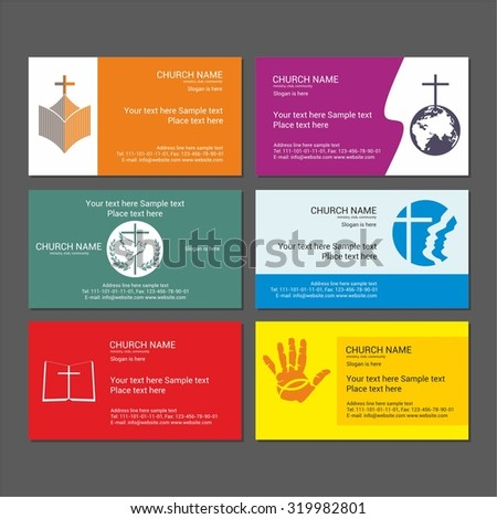 Set Christian business cards. For the church, the ministry, the club and the community. - stock vector