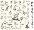 set - christmas doodles - stock vector