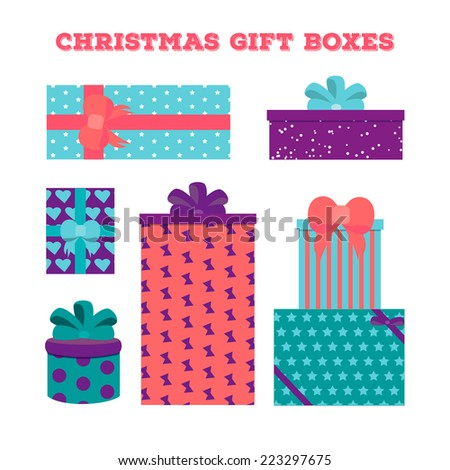 Set christmas gift boxes with different patterns - stock vector