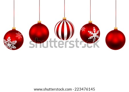 Set Christmas Red Ball. Decorations with ribbon isolated on white background. Vector. Illustration. - stock vector