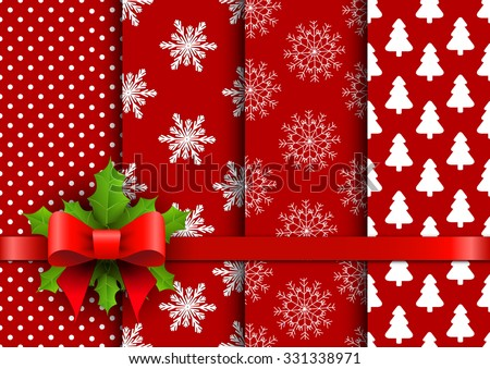 Set christmas red seamless vector backgrounds  - stock vector