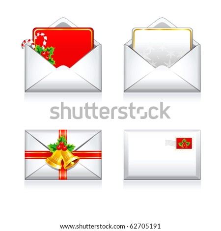 Set Christmas vector letters e- mail icons.