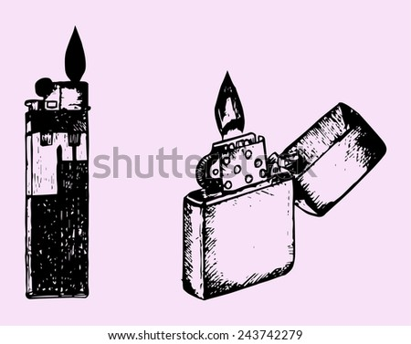 set cigar lighter isolated on pink background - stock vector