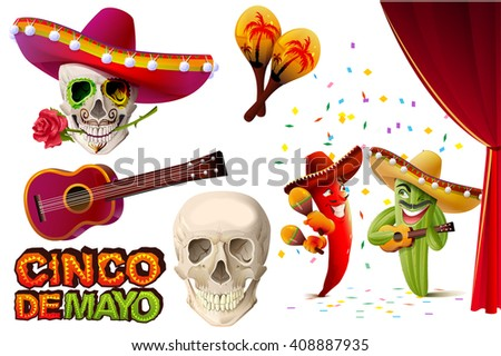 Set Cinco de Mayo. Mexican skull in sombrero holding rose teeth. Lettering text for greeting card. Isolated on white vector illustration - stock vector