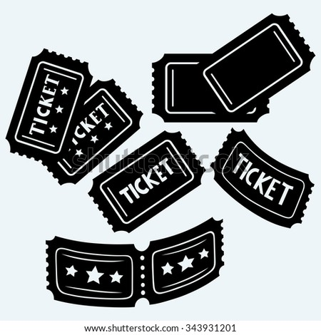 Set cinema tickets. Isolated on blue background. Vector silhouettes