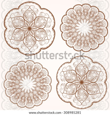 Set circular ornaments, classic style flower, vintage retro pattern. Vector illustration