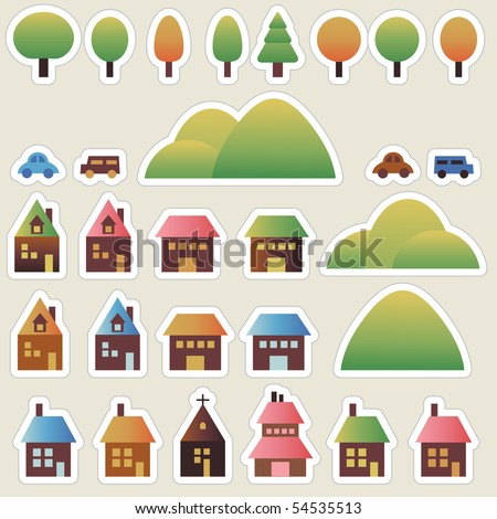 Set city stickers with houses, cars, nature, trees and mountains - stock vector
