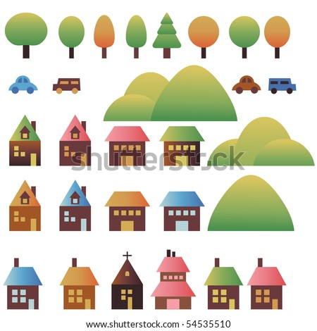 Set city with houses, cars, nature, trees and mountains - stock vector
