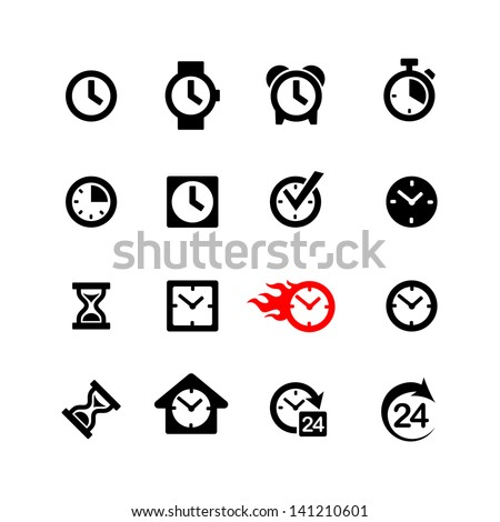 Set 16 clock icons - stock vector
