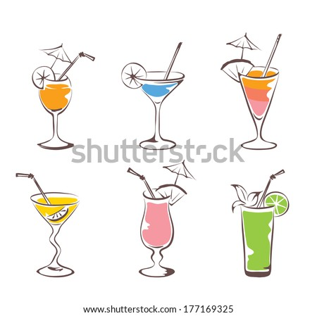 Set -- cocktail - stock vector