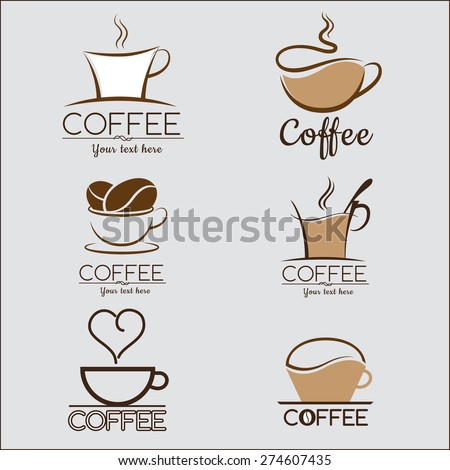 Set coffee logo, labels, design templates - stock vector