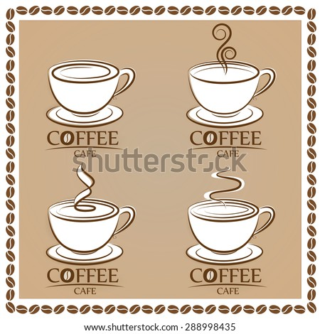 Set coffee logo, labels, design templates - stock vector