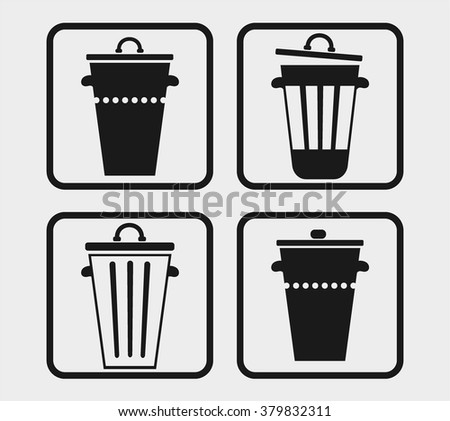 Set, collection, group of four simple black bin icon, symbol, isolated on white background - stock vector