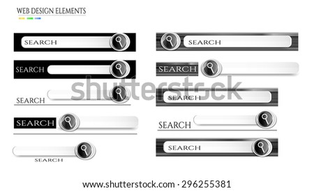 Set, collection, group of white, gray, black, modern, isolated, search bars with magnifier icon, text, design for website, white background  - stock vector