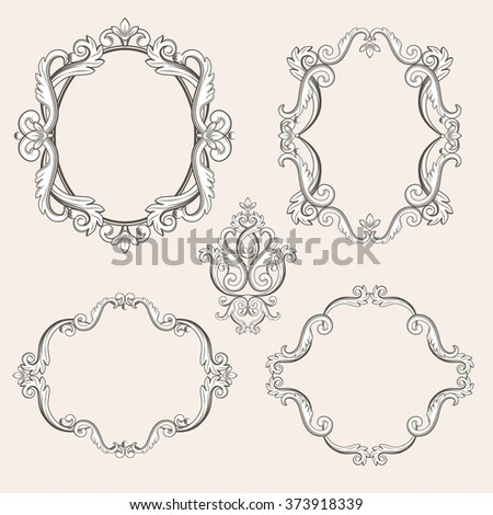 Set collection of baroque frames and sign isolated on beige background. Vector illustration. Can use for birthday card, wedding invitations, damask pattern, page decoration... - stock vector